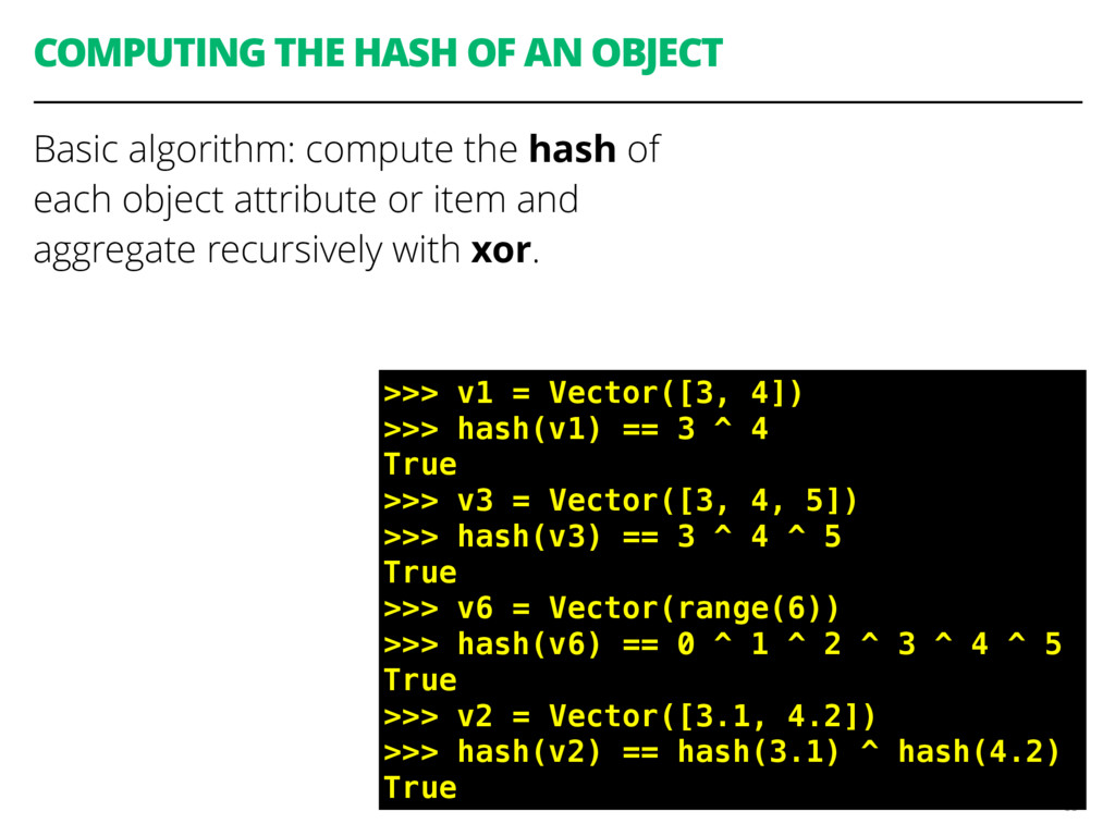 COMPUTING THE HASH OF AN OBJECT Basic algorithm...