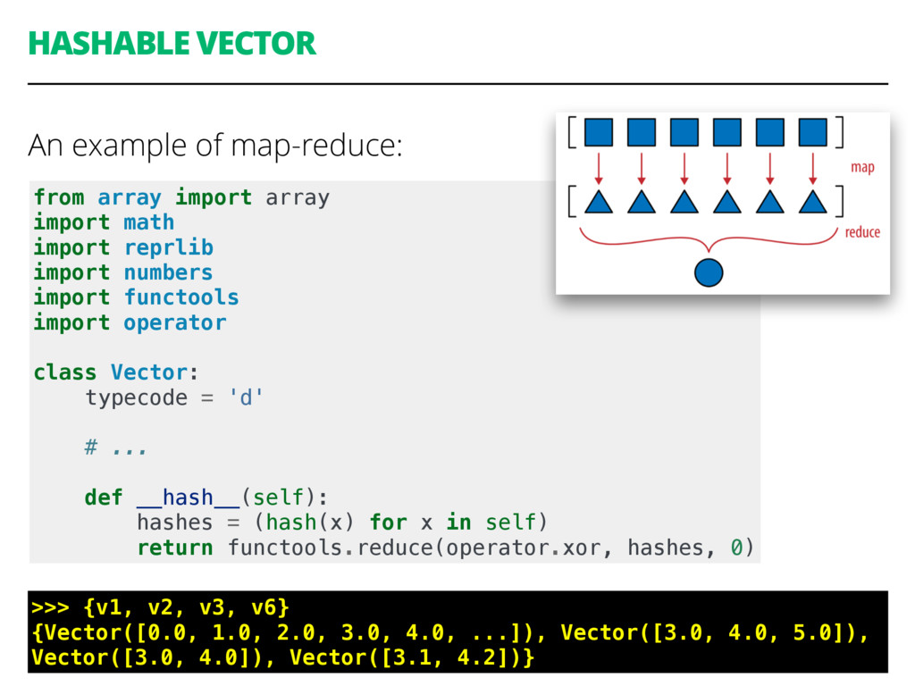 HASHABLE VECTOR An example of map-reduce: 57 fr...