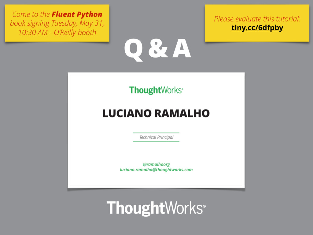Q & A Come to the Fluent Python book signing Tu...