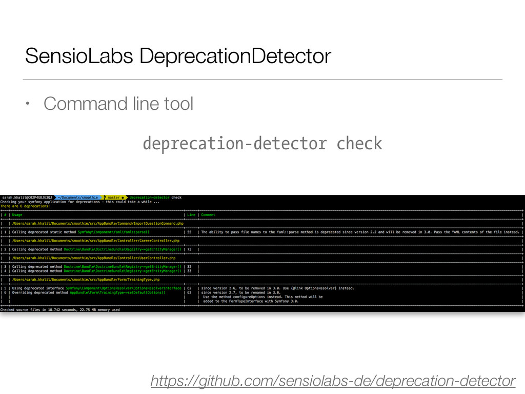 SensioLabs DeprecationDetector • Command line t...