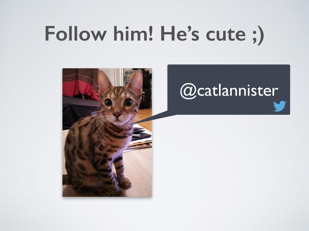 Follow him! He's cute ;) @catlannister