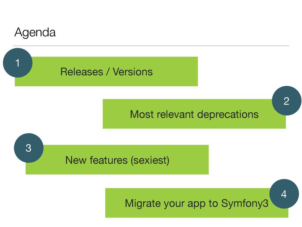 Agenda Releases / Versions 1 Most relevant depr...