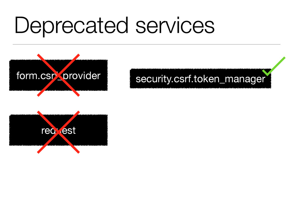 Deprecated services form.csrf_provider request ...