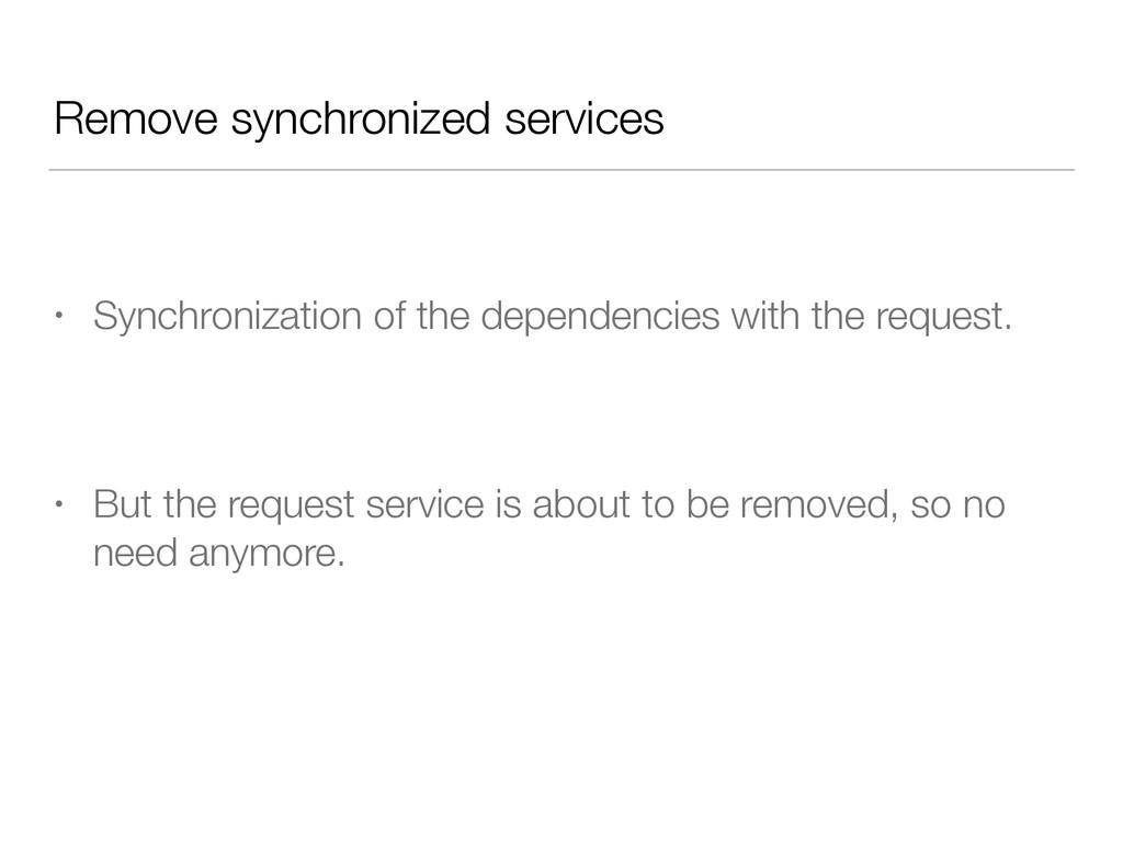 Remove synchronized services • Synchronization ...