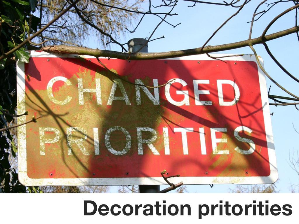 Decoration pritorities