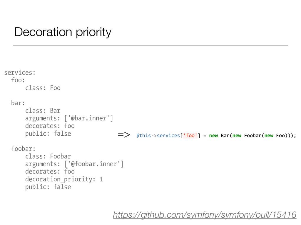 Decoration priority services: foo: class: Foo b...