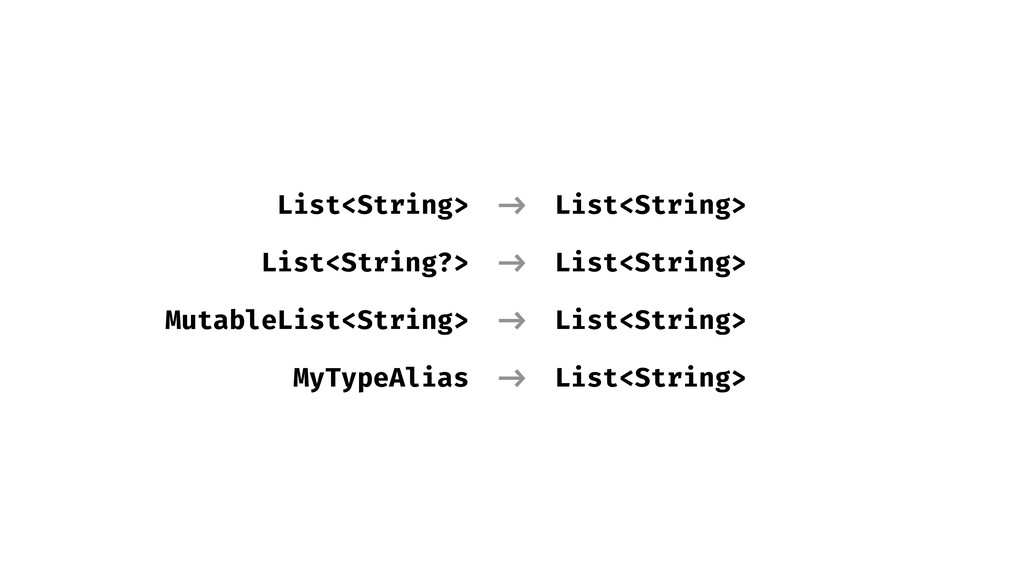 List<String> List<String?> MutableList<String> ...
