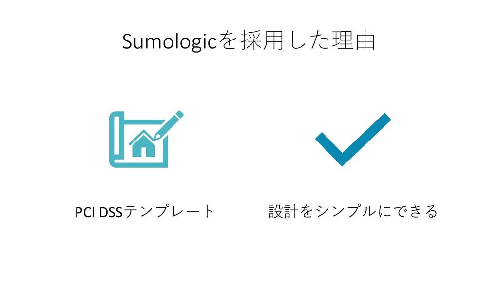 Sumologicを採⽤した理由 PCI DSSテンプレート 設計をシンプルにできる
