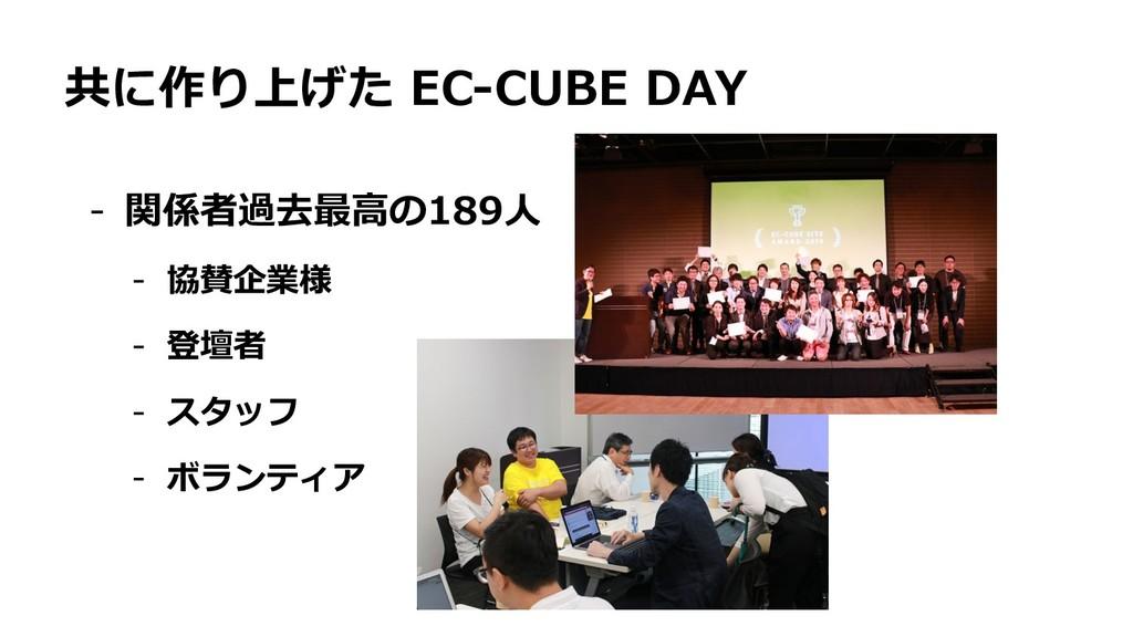 共に作り上げた EC-CUBE DAY - 関係者過去最⾼の189⼈ - 協賛企業様 - 登壇...