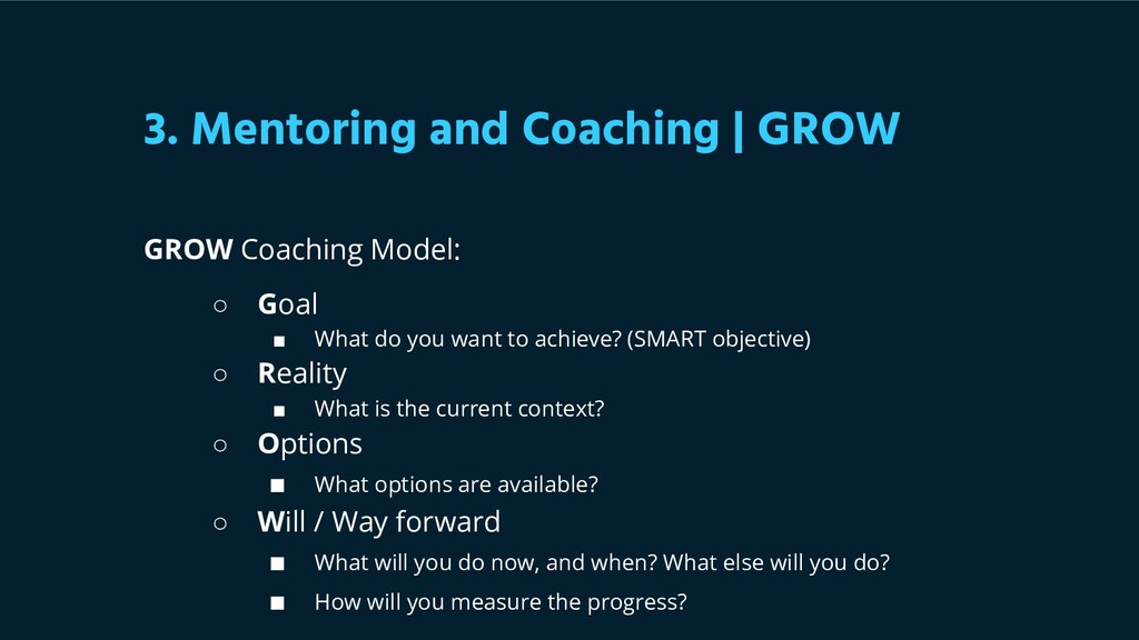 GROW Coaching Model: ○ Goal ■ What do you want ...