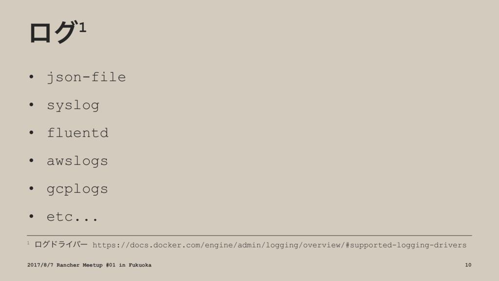 ϩά1 • json-file • syslog • fluentd • awslogs • ...