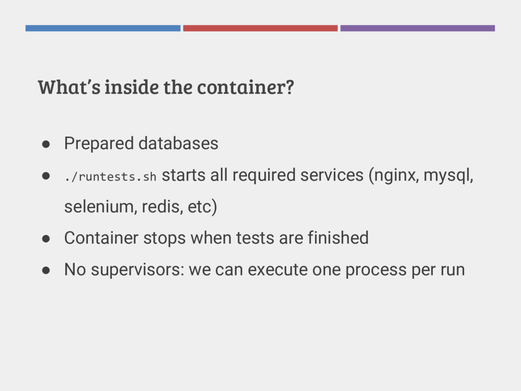 What's inside the container? ● Prepared databas...