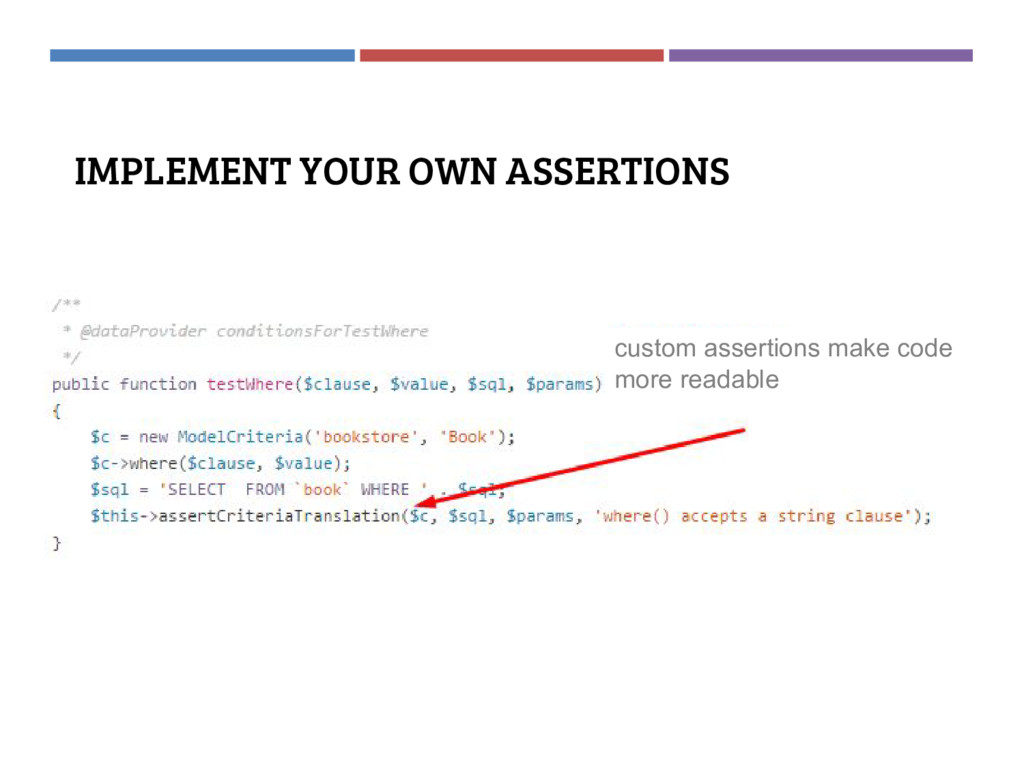 IMPLEMENT YOUR OWN ASSERTIONS custom assertions...