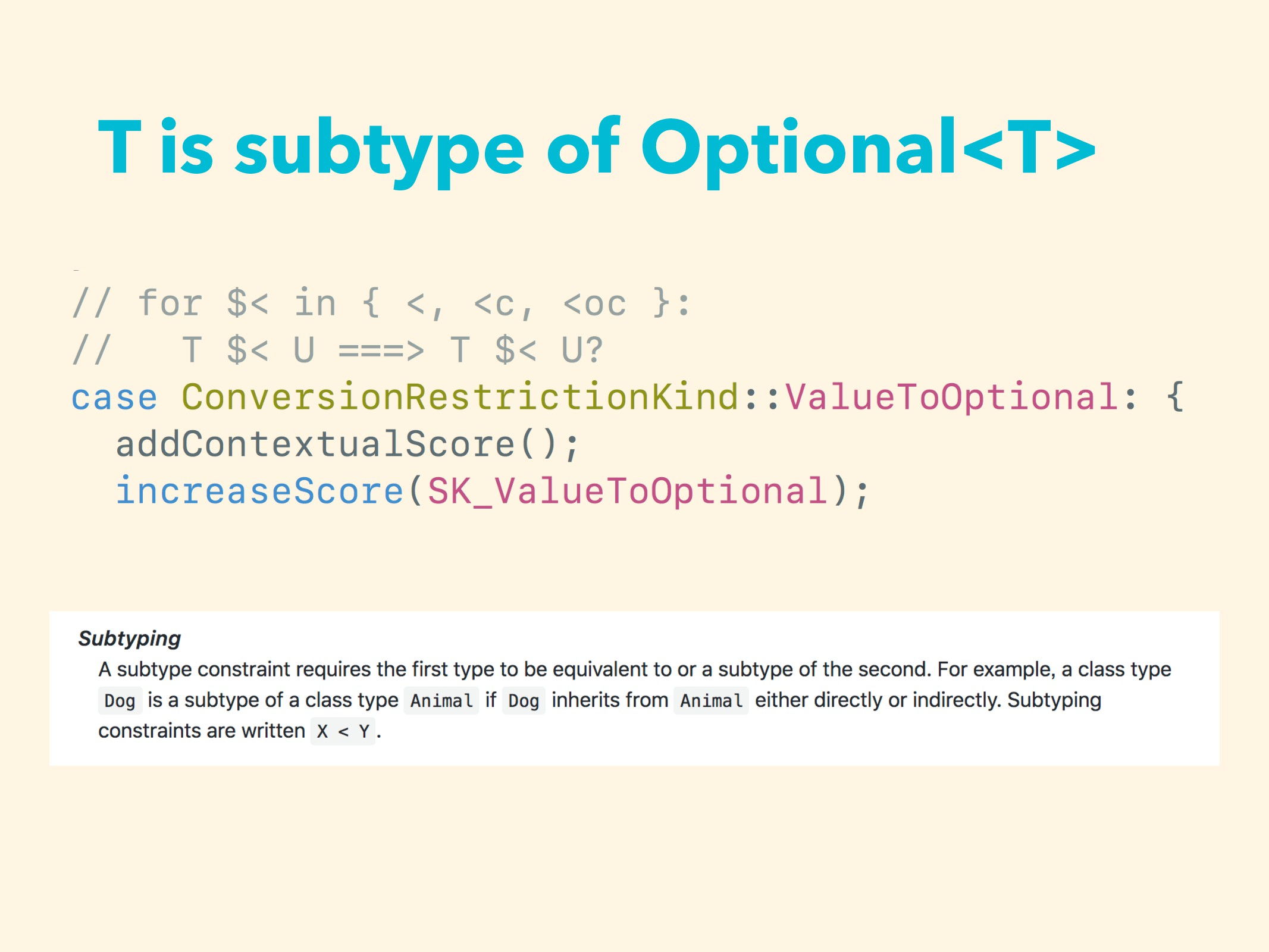 T is subtype of Optional<T>