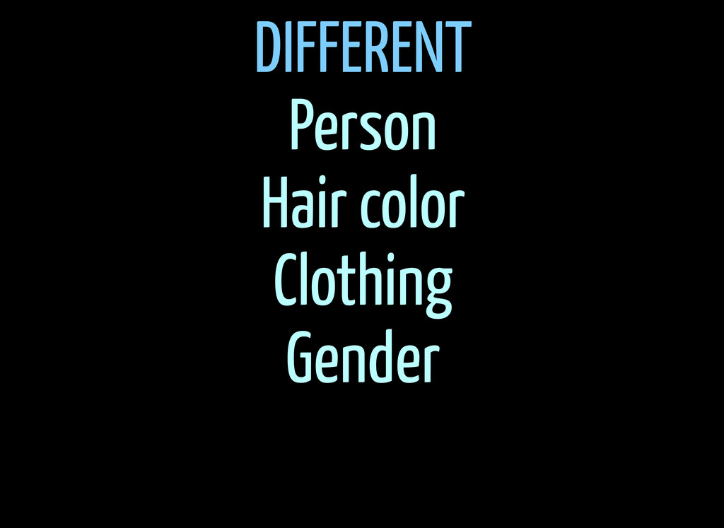 DIFFERENT Person Hair color Clothing Gender