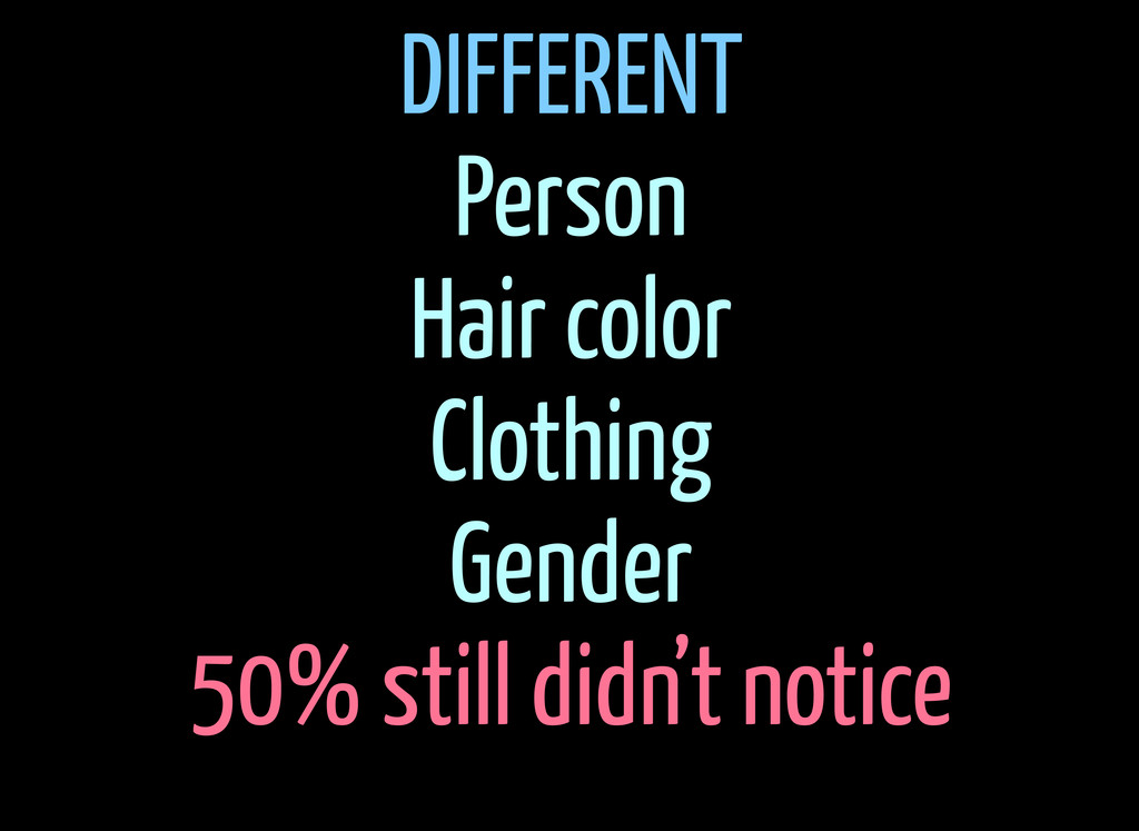 DIFFERENT Person Hair color Clothing Gender 50%...
