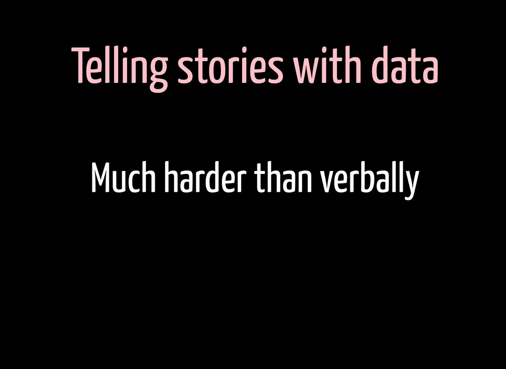 Telling stories with data Much harder than verb...