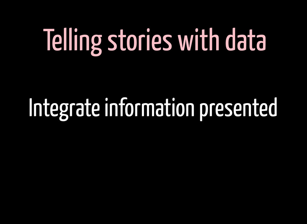 Telling stories with data Integrate information...
