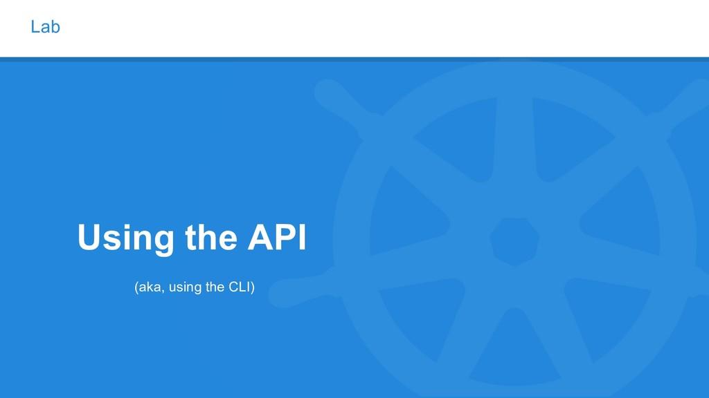 Lab Using the API (aka, using the CLI)