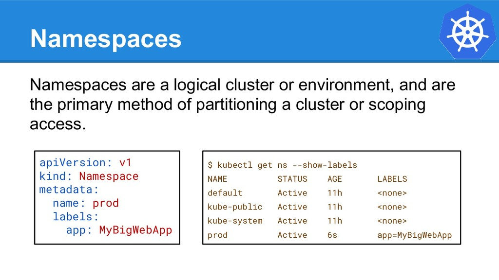 Namespaces Namespaces are a logical cluster or ...