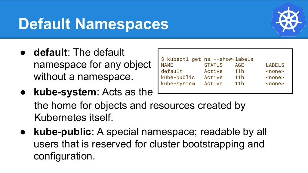 Default Namespaces $ kubectl get ns --show-labe...