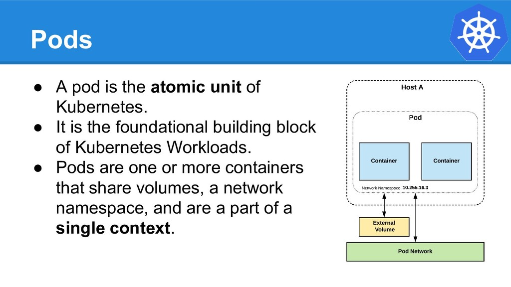 Pods ● A pod is the atomic unit of Kubernetes. ...