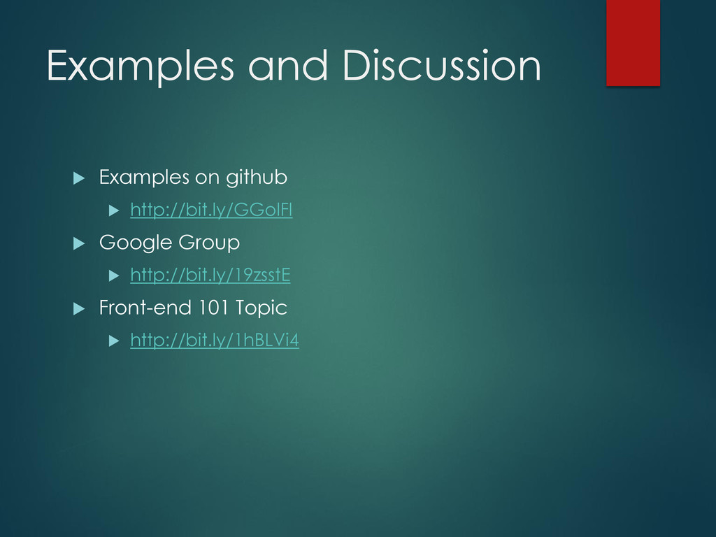 Examples and Discussion  Examples on github  ...