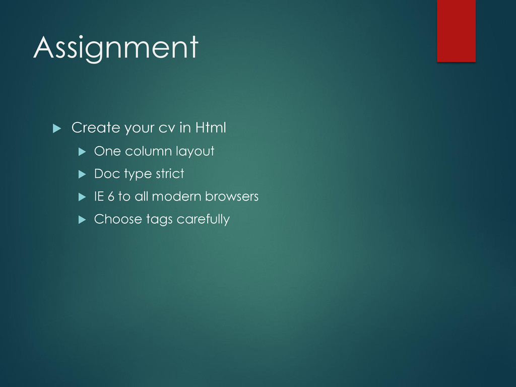 Assignment  Create your cv in Html  One colum...