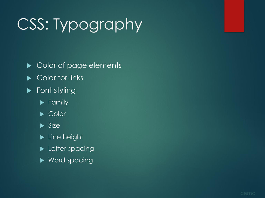 CSS: Typography  Color of page elements  Colo...