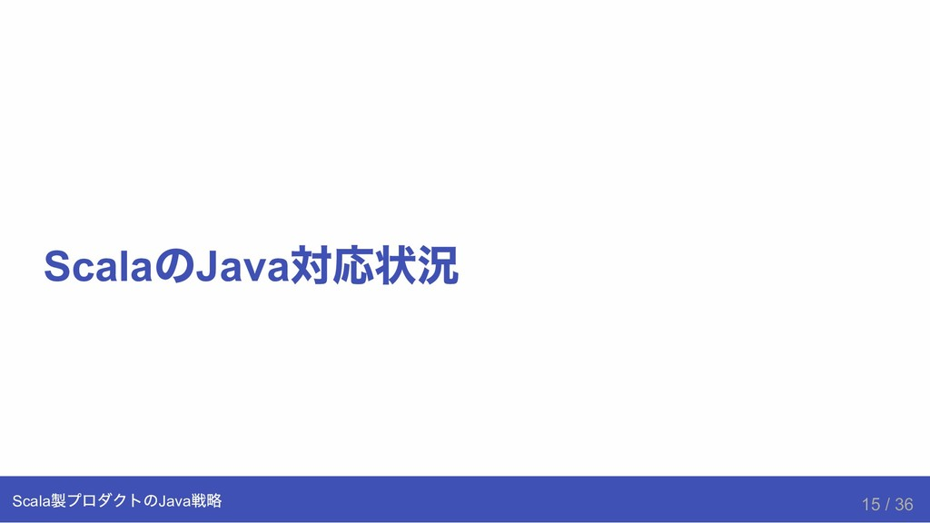 Scala の Java 対応状況 Scala 製プロダクトのJava 戦略 15 / 36