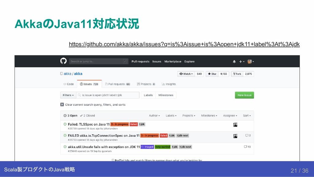 Akka の Java11 対応状況 https://github.com/akka/akka...