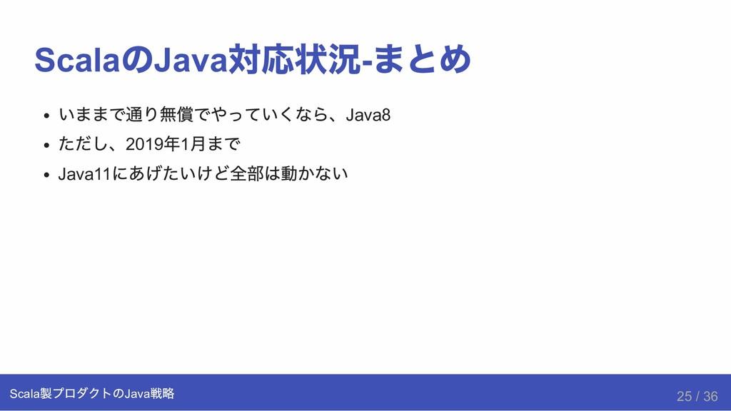 Scala の Java 対応状況  まとめ いままで通り無償でやっていくなら、Java8 ...