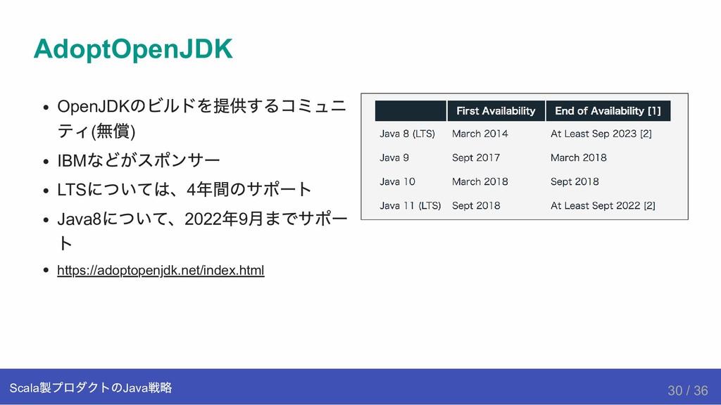 OpenJDK のビルドを提供するコミュニ ティ( 無償) IBM などがスポンサー LTS ...