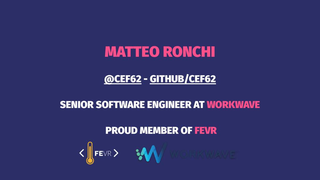 MATTEO RONCHI @CEF62 - GITHUB/CEF62 SENIOR SOFT...