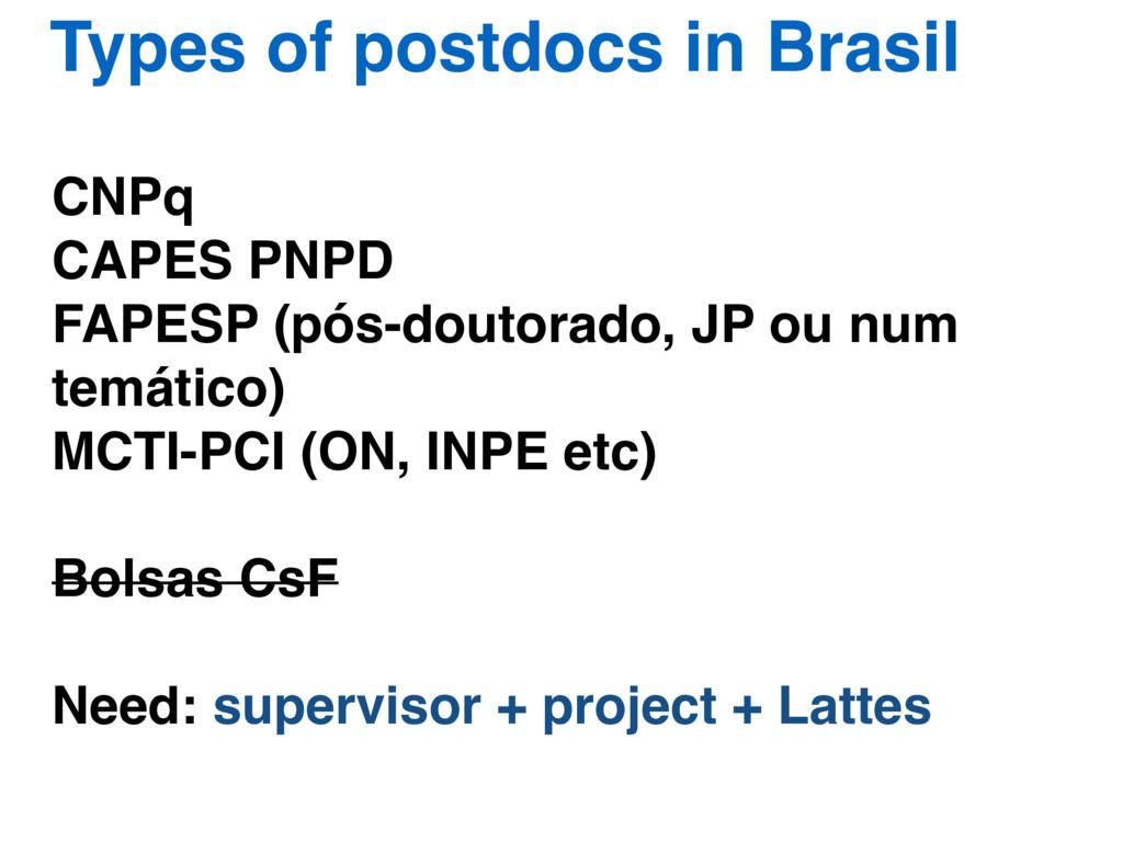 Types of postdocs in Brasil CNPq CAPES PNPD FAP...