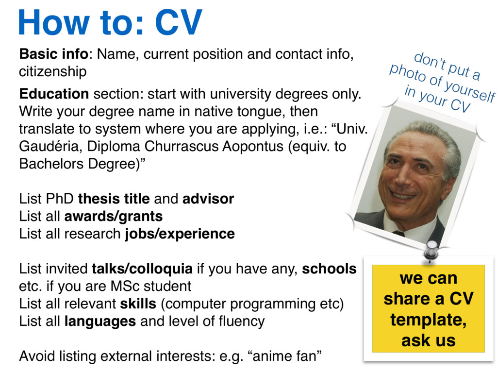 How to: CV Basic info: Name, current position a...