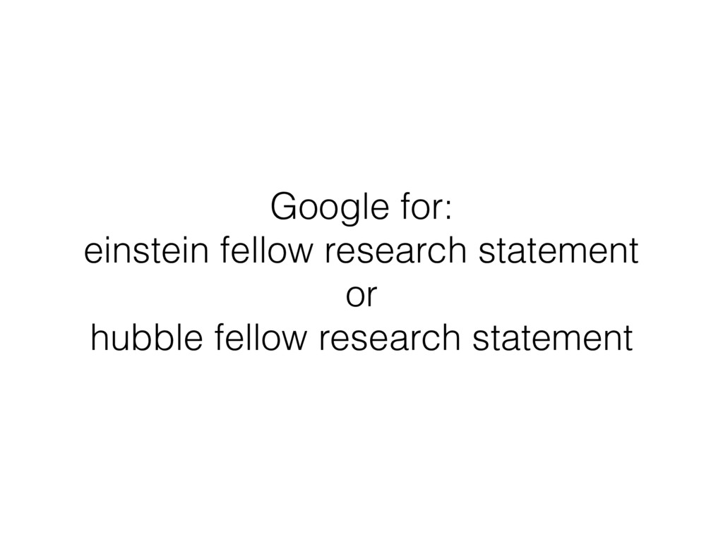 Google for: einstein fellow research statement ...