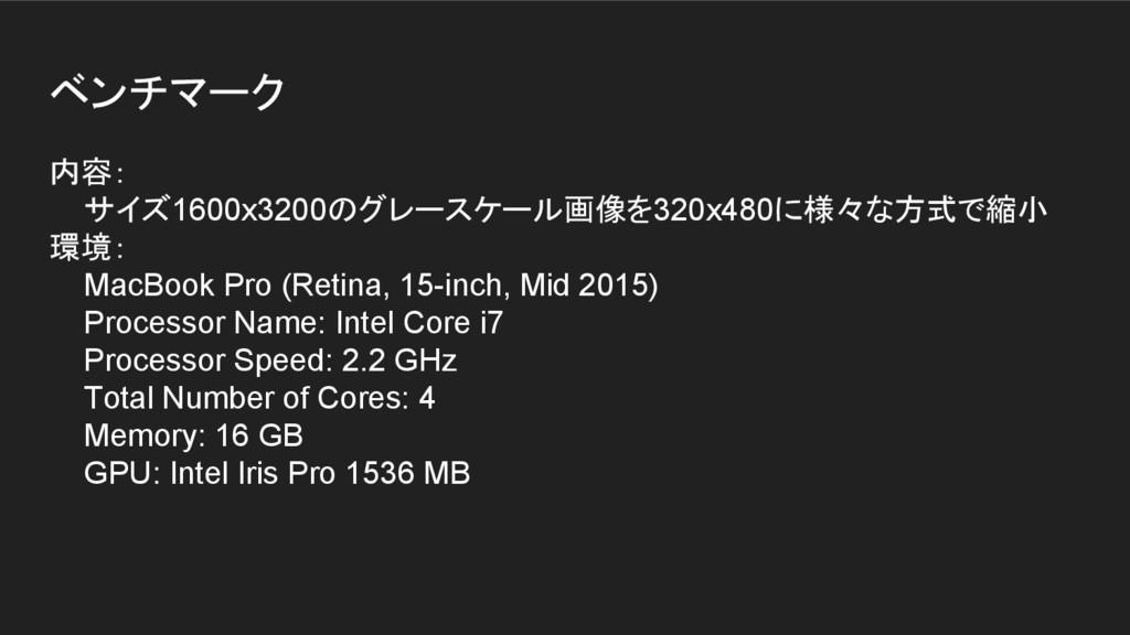 ベンチマーク 内容: サイズ1600x3200のグレースケール画像を320x480に様々な方式...
