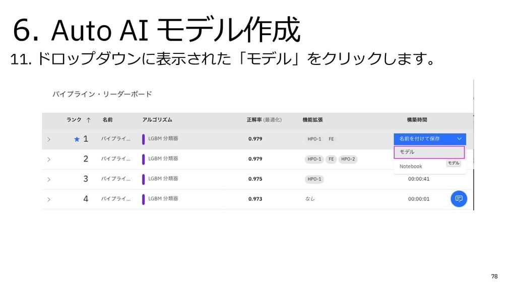 6. Auto AI モデル作成 11. ドロップダウンに表⽰された「モデル」をクリックします...