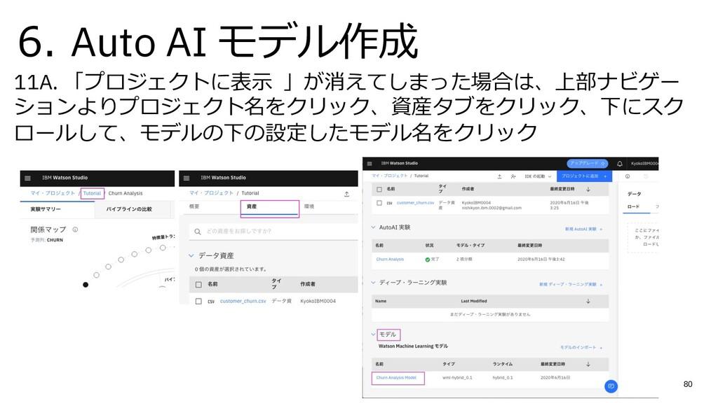 6. Auto AI モデル作成 11A. 「プロジェクトに表⽰ 」が消えてしまった場合は、上...