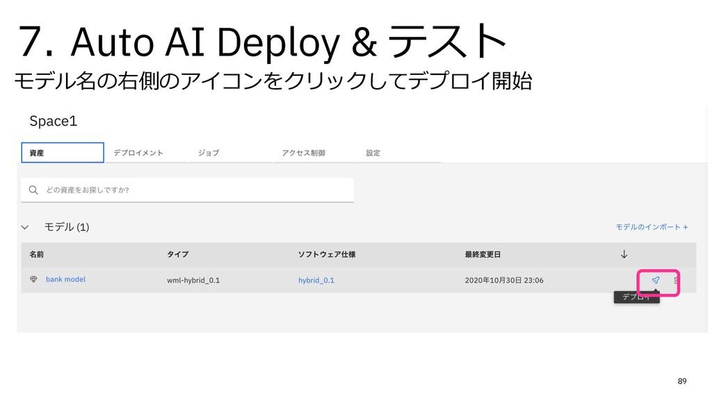 7. Auto AI Deploy & テスト モデル名の右側のアイコンをクリックしてデプロイ...