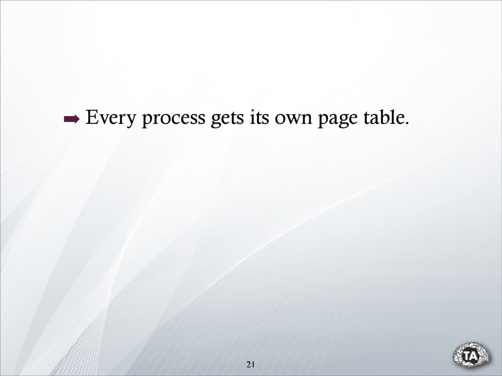➡ Every process gets its own page table. 21