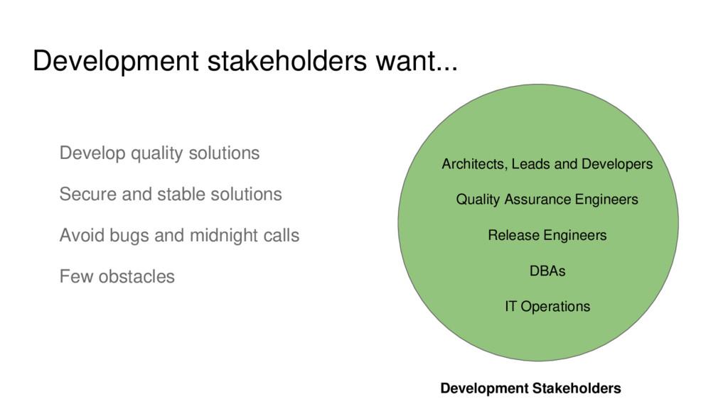 Development stakeholders want... Development St...