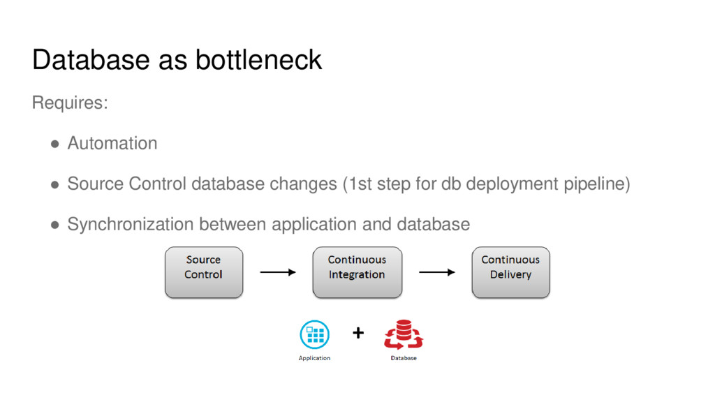 Database as bottleneck Requires: ● Automation ●...