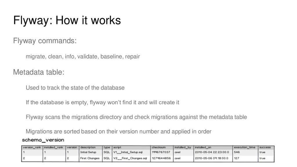 Flyway: How it works Flyway commands: migrate, ...