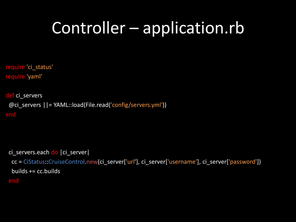 Controller – application.rb require 'ci_status'...