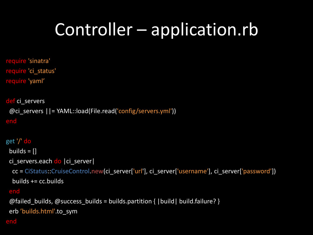 Controller – application.rb require 'sinatra' r...