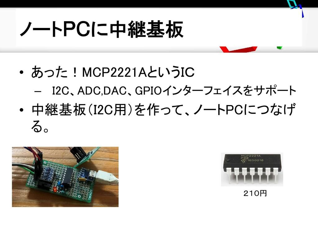 ノートPCに中継基板 • あった!MCP2221AというIC – I2C、ADC,DAC、GP...