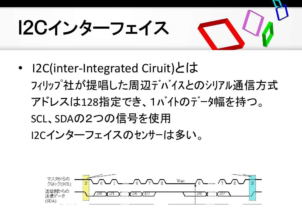 I2Cインターフェイス • I2C(inter-Integrated Ciruit)とは フィ...
