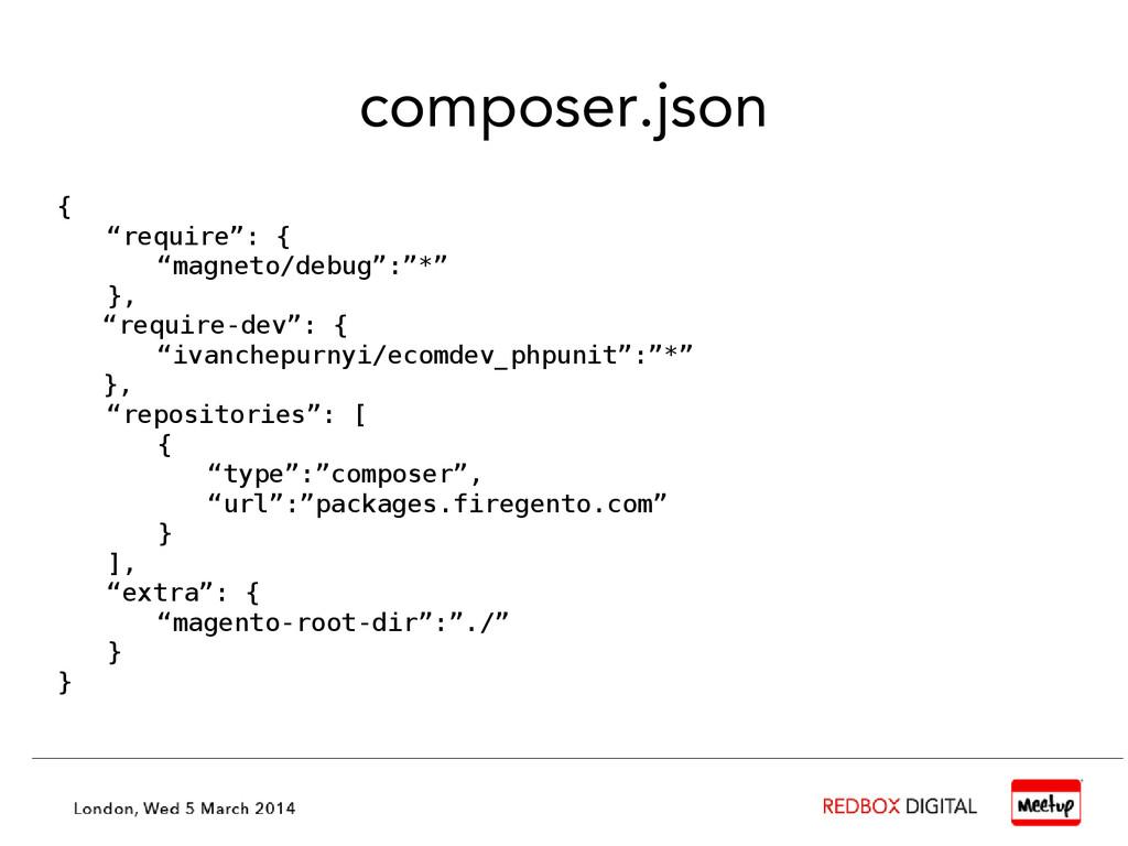 "composer.json { ""require"": { ""magneto/debug"":""*..."